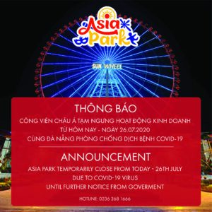 Announcement: ASIA PARK TEMPORARILY CLOSE FROM 26TH JULY